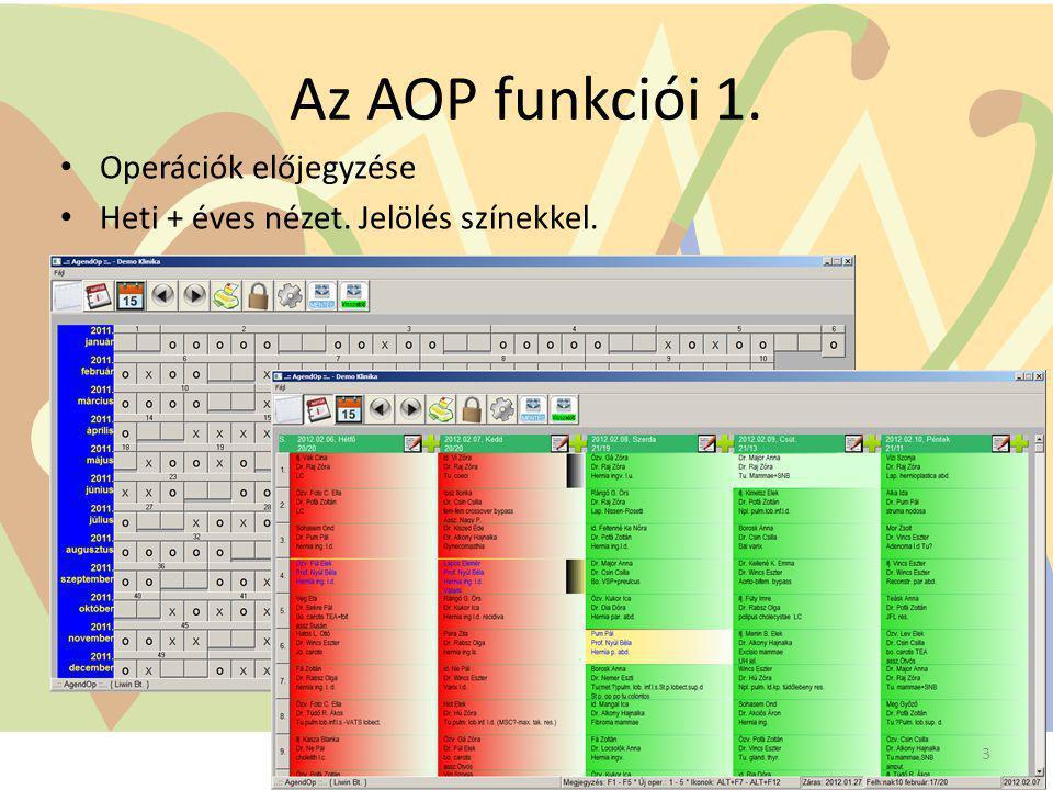 Az AOP funkciói 1. Operációk előjegyzése Heti + éves nézet. Jelölés színekkel. 3