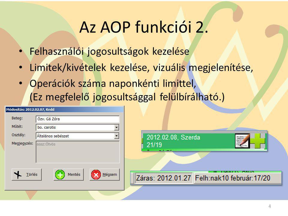 Az AOP funkciói 2. Felhasználói jogosultságok kezelése Limitek/kivételek kezelése, vizuális megjelenítése, Operációk száma naponkénti limittel, (Ez me