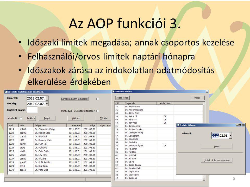 Az AOP funkciói 3. Időszaki limitek megadása; annak csoportos kezelése Felhasználói/orvos limitek naptári hónapra Időszakok zárása az indokolatlan ada
