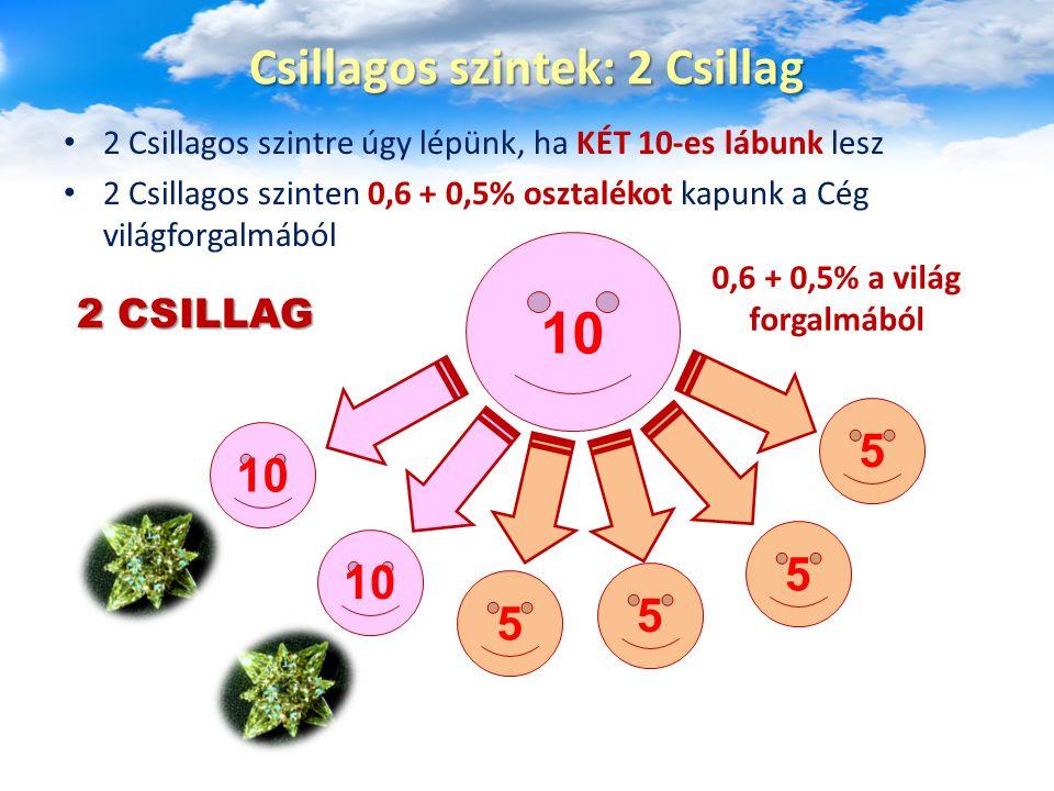 2 Csillagos szintre úgy lépünk, ha KÉT 10-es lábunk lesz 2 Csillagos szinten 0,6 + 0,5% osztalékot kapunk a Cég világforgalmából Csillagos szintek: 2