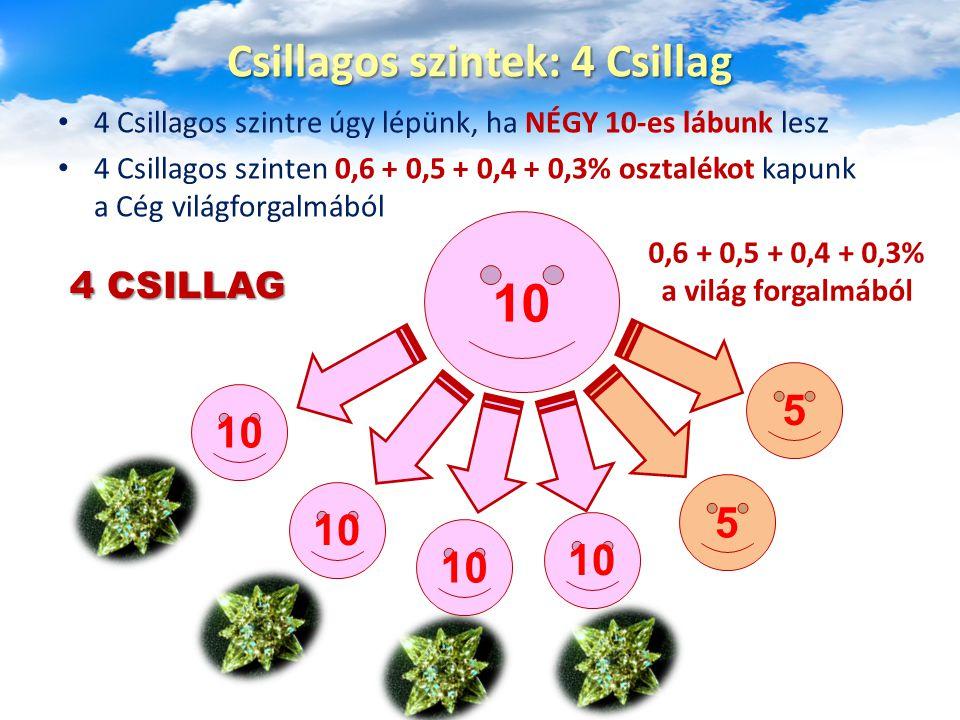 4 Csillagos szintre úgy lépünk, ha NÉGY 10-es lábunk lesz 4 Csillagos szinten 0,6 + 0,5 + 0,4 + 0,3% osztalékot kapunk a Cég világforgalmából Csillago