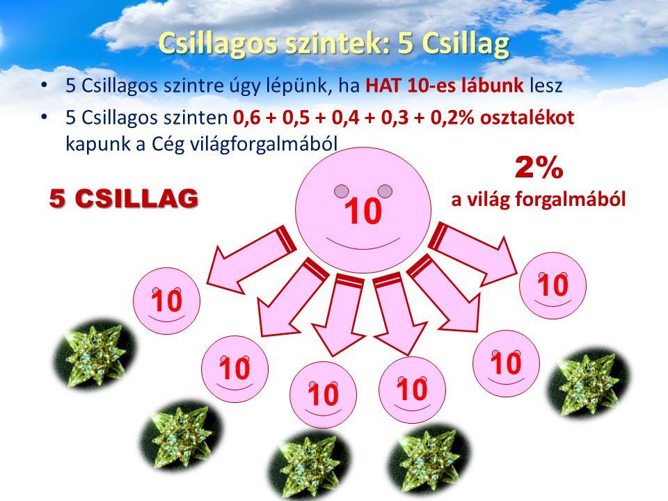 5 Csillagos szintre úgy lépünk, ha HAT 10-es lábunk lesz 5 Csillagos szinten 0,6 + 0,5 + 0,4 + 0,3 + 0,2% osztalékot kapunk a Cég világforgalmából Csi