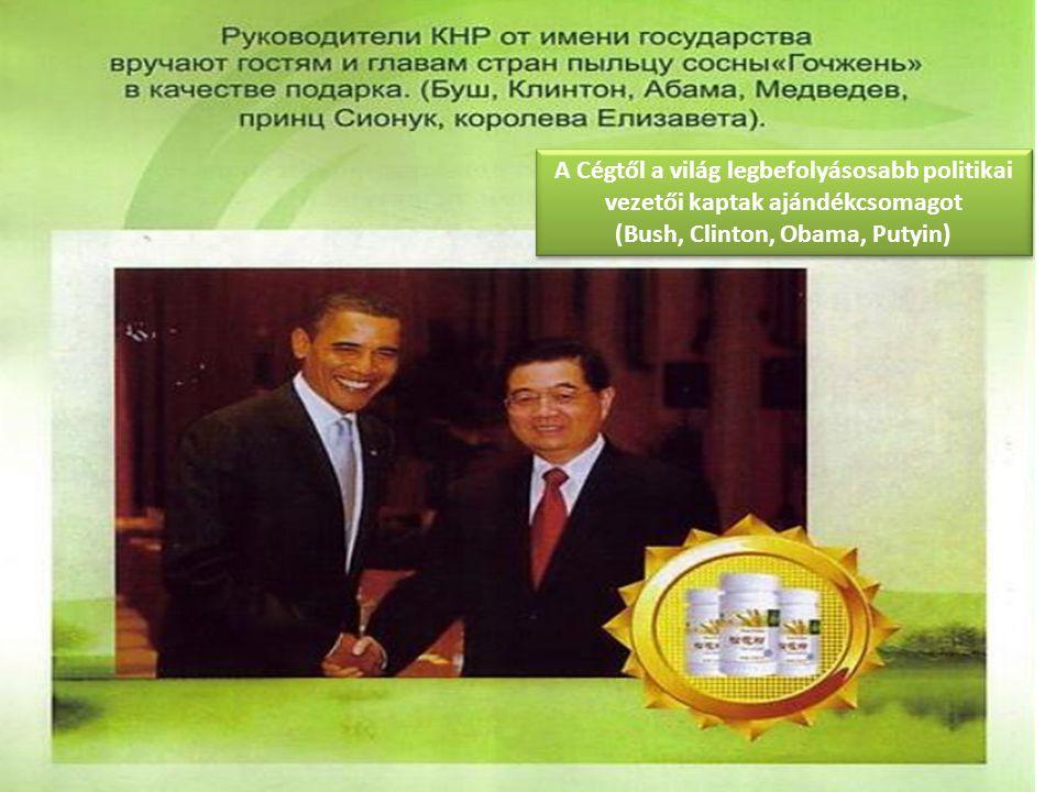 A Cégtől a világ legbefolyásosabb politikai vezetői kaptak ajándékcsomagot (Bush, Clinton, Obama, Putyin)