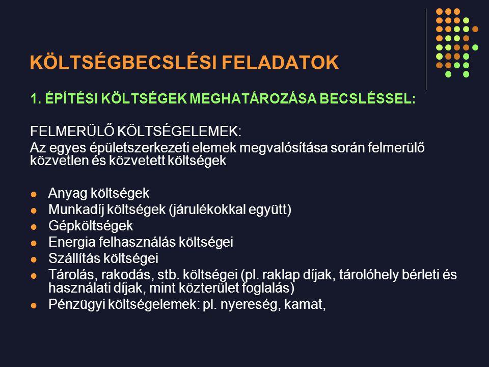 KÖLTSÉGBECSLÉSI FELADATOK 1.