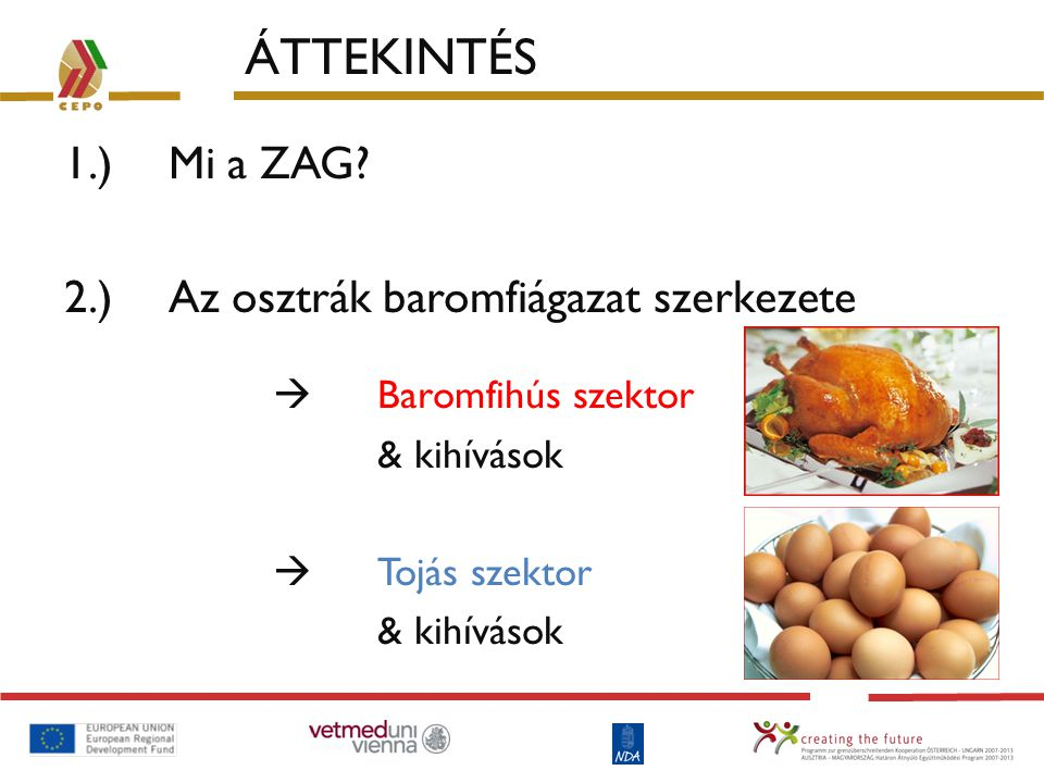 ÁTTEKINTÉS 1.) Mi a ZAG? 2.) Az osztrák baromfiágazat szerkezete  Baromfihús szektor & kihívások  Tojás szektor & kihívások
