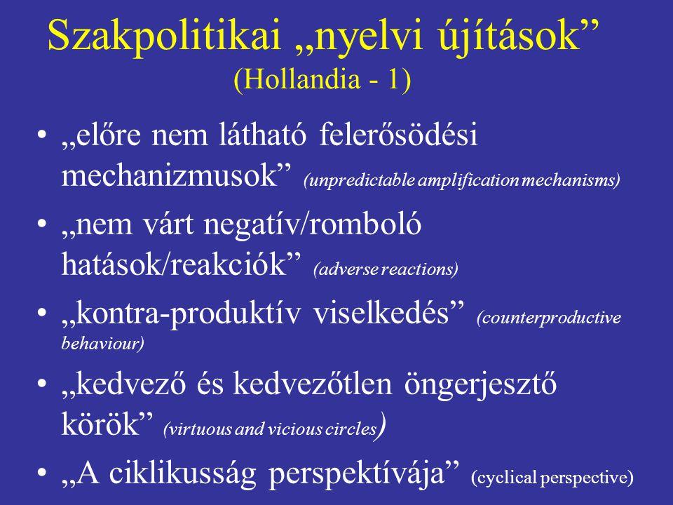 """Szakpolitikai """"nyelvi újítások"""" (Hollandia - 1) """"előre nem látható felerősödési mechanizmusok"""" (unpredictable amplification mechanisms) """"nem várt nega"""