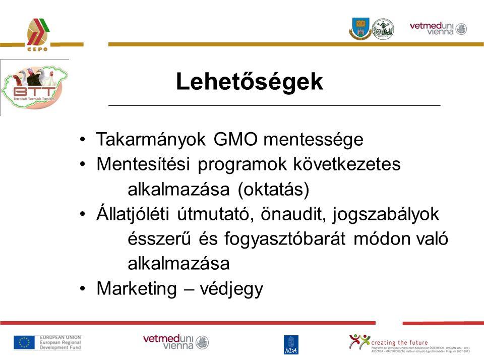 Lehetőségek Takarmányok GMO mentessége Mentesítési programok következetes alkalmazása (oktatás) Állatjóléti útmutató, önaudit, jogszabályok ésszerű és fogyasztóbarát módon való alkalmazása Marketing – védjegy