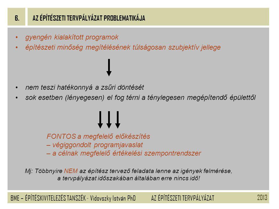 2013 BME – ÉPÍTÉSKIVITELEZÉS TANSZÉK - Vidovszky István PhD 6. AZ ÉPÍTÉSZETI TERVPÁLYÁZAT gyengén kialakított programok építészeti minőség megítélésén