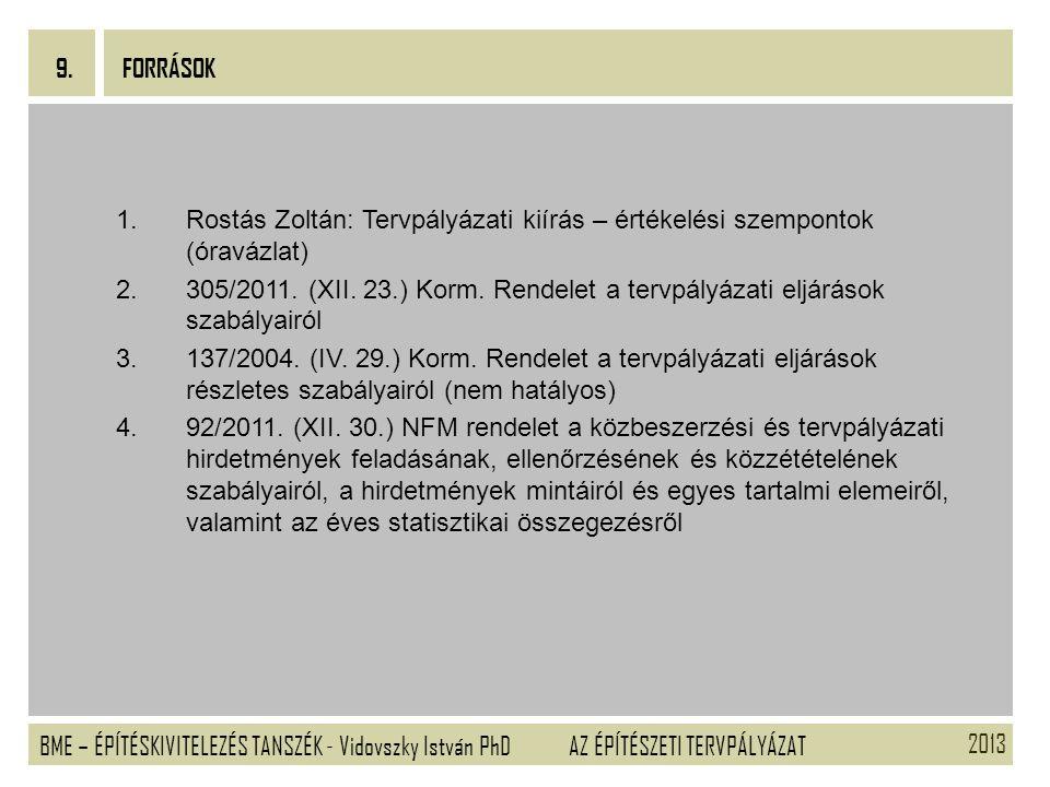 2013 BME – ÉPÍTÉSKIVITELEZÉS TANSZÉK - Vidovszky István PhD 9. AZ ÉPÍTÉSZETI TERVPÁLYÁZAT Tervpályázati kiírás – értékelési szempontok (óravázlat) 1.R