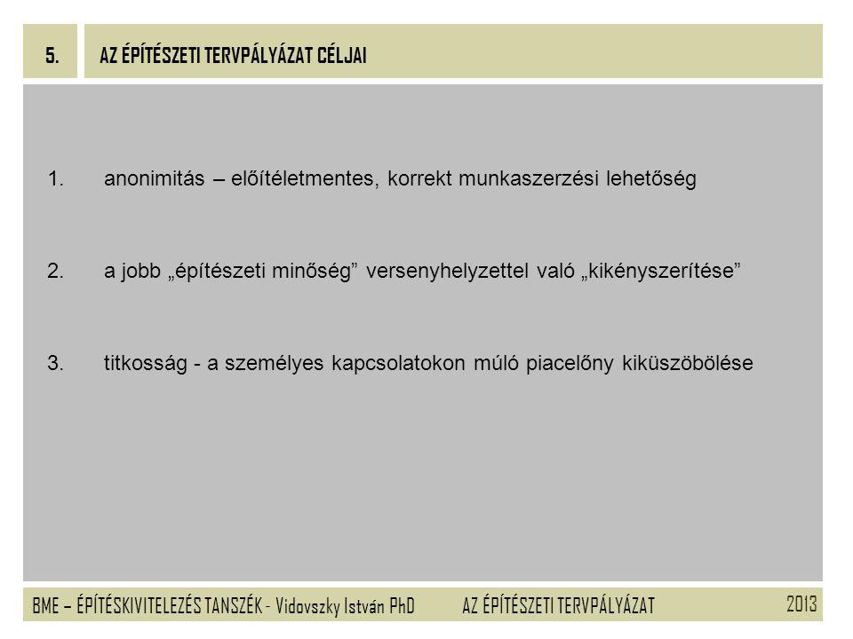 2013 BME – ÉPÍTÉSKIVITELEZÉS TANSZÉK - Vidovszky István PhD 5. AZ ÉPÍTÉSZETI TERVPÁLYÁZAT 1.anonimitás – előítéletmentes, korrekt munkaszerzési lehető
