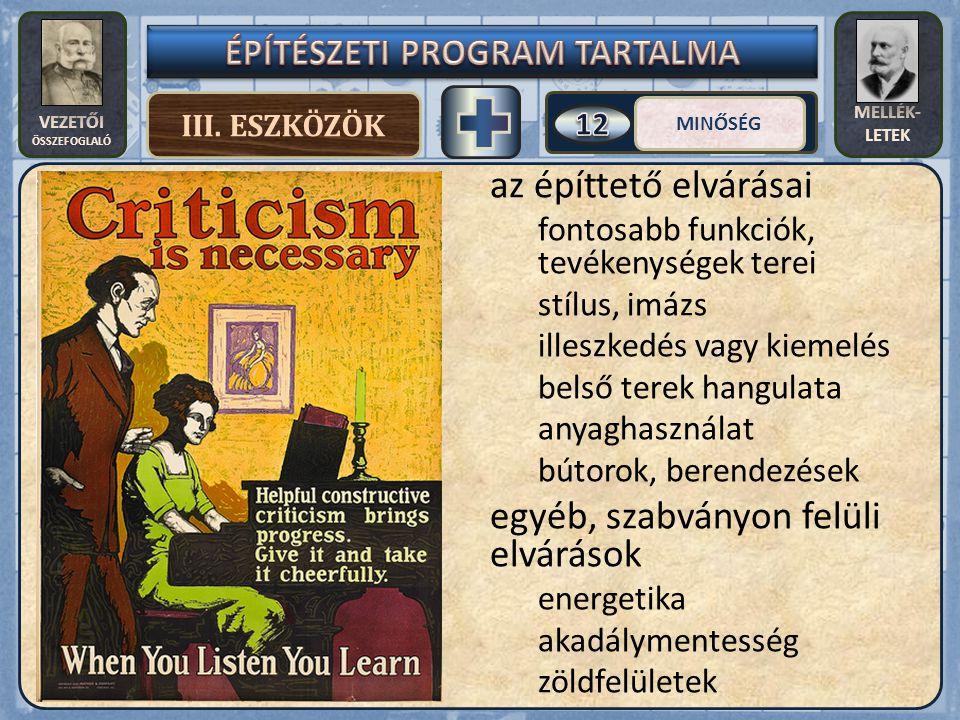VEZETŐI ÖSSZEFOGLALÓ MELLÉK- LETEK III.