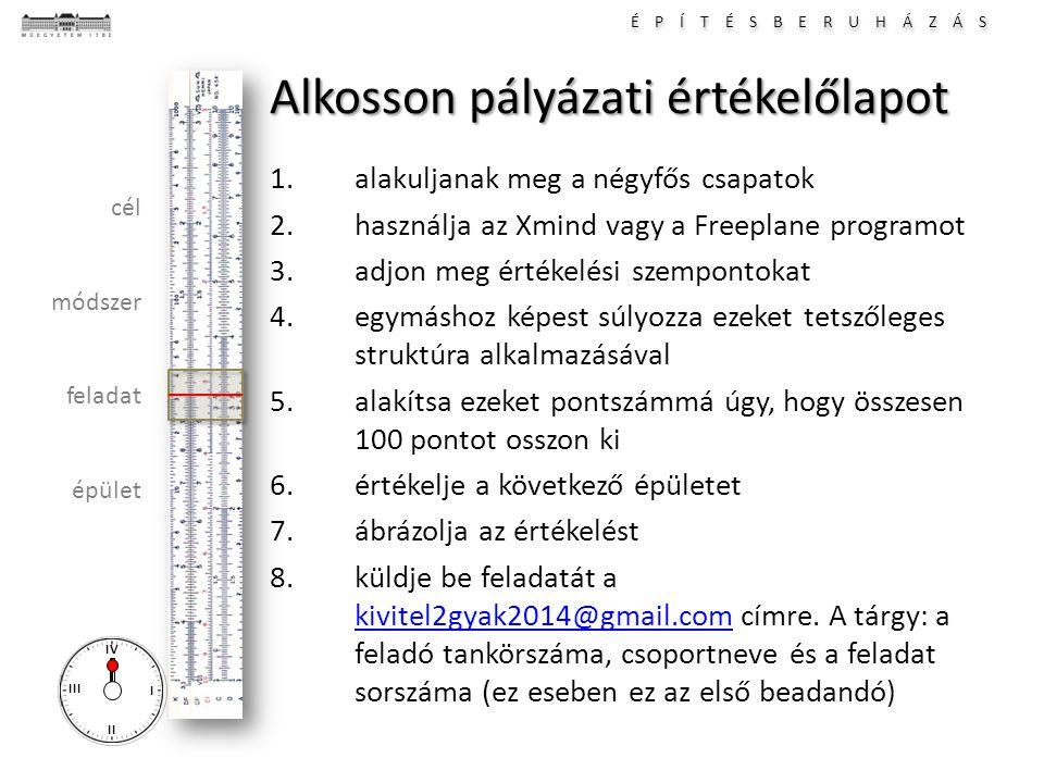 É P Í T É S B E R U H Á Z Á S I II III IV cél módszer feladat épület Alkosson pályázati értékelőlapot 1.alakuljanak meg a négyfős csapatok 2.használja