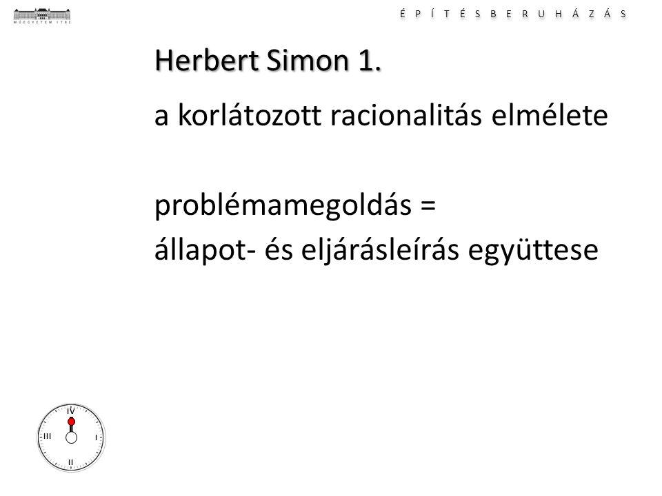 É P Í T É S B E R U H Á Z Á S I II III IV Herbert Simon 1. a korlátozott racionalitás elmélete problémamegoldás = állapot- és eljárásleírás együttese