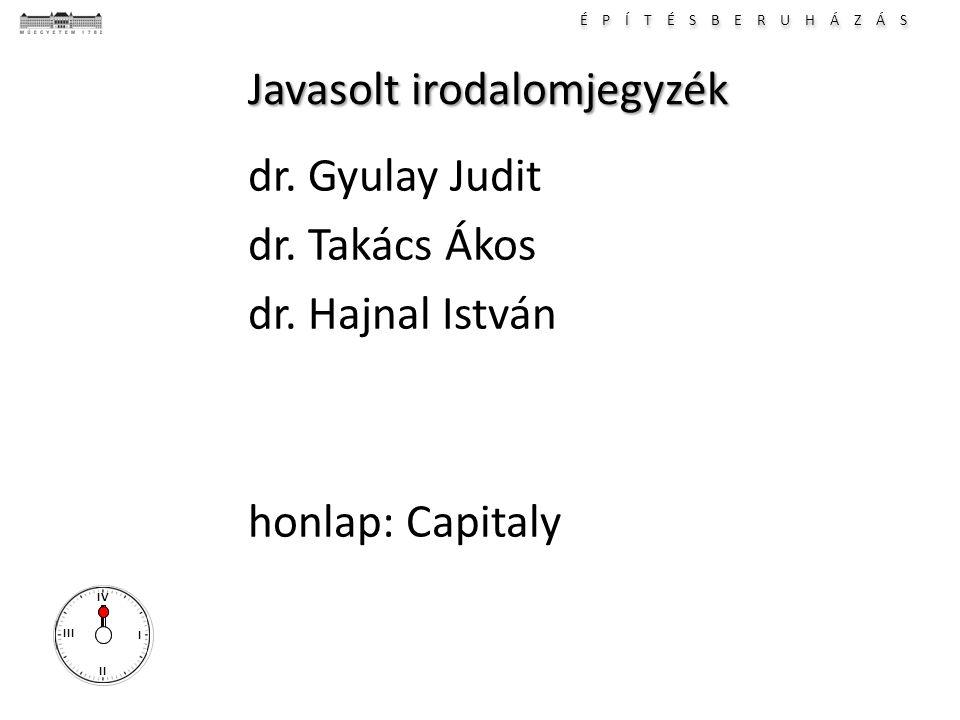 É P Í T É S B E R U H Á Z Á S I II III IV Javasolt irodalomjegyzék dr. Gyulay Judit dr. Takács Ákos dr. Hajnal István honlap: Capitaly