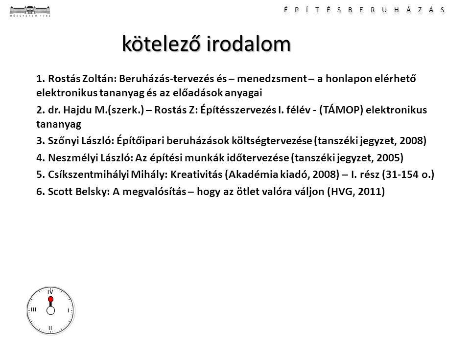 É P Í T É S B E R U H Á Z Á S I II III IV kötelező irodalom 1. Rostás Zoltán: Beruházás-tervezés és – menedzsment – a honlapon elérhető elektronikus t