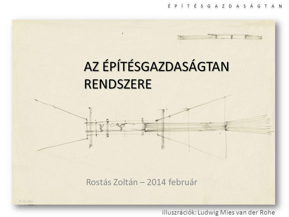 É P Í T É S G A Z D A S Á G T A N I II III IV AZ ÉPÍTÉSGAZDASÁGTAN RENDSZERE Rostás Zoltán – 2014 február illuszrációk: Ludwig Mies van der Rohe