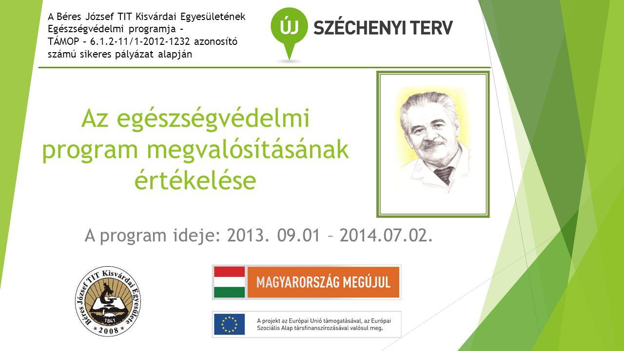 Az egészségvédelmi program megvalósításának értékelése A program ideje: 2013.