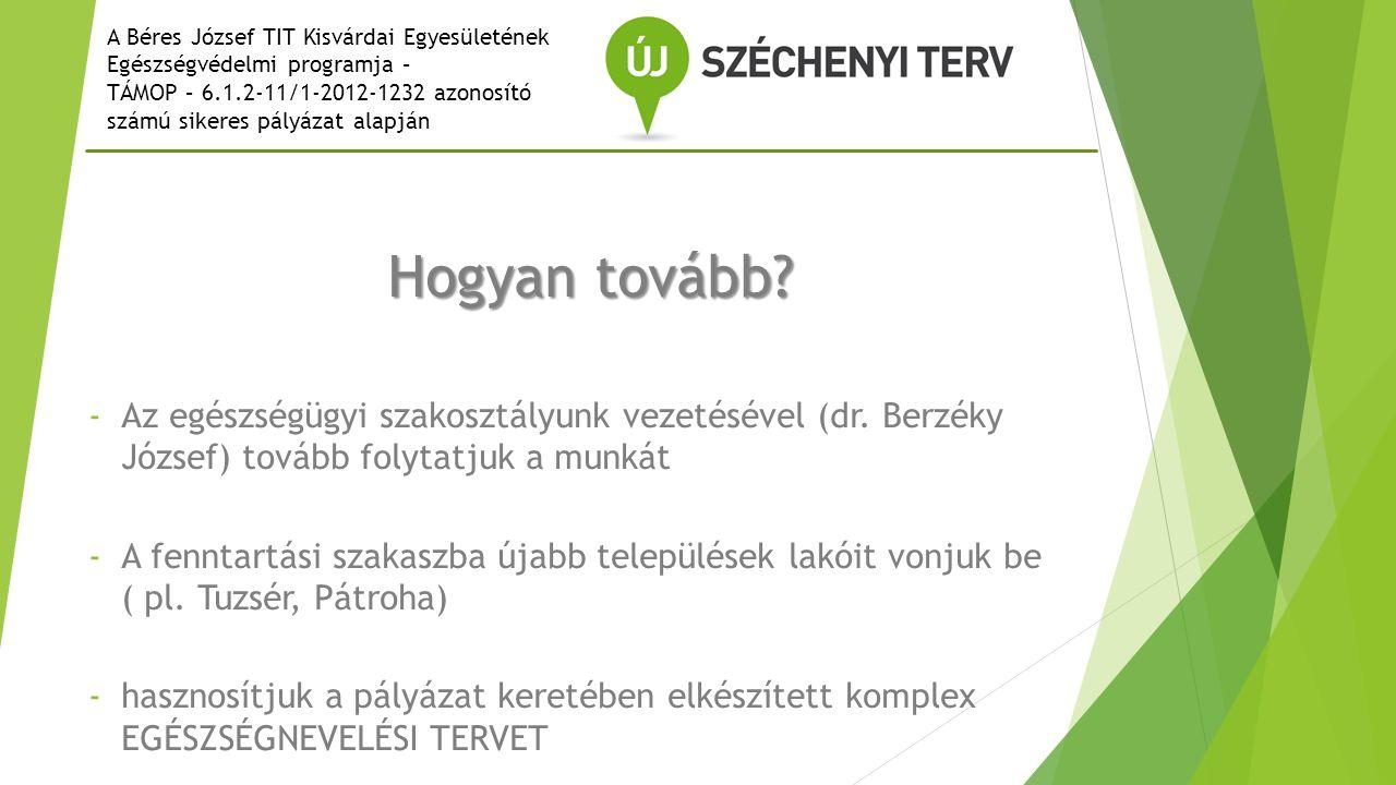 A Béres József TIT Kisvárdai Egyesületének Egészségvédelmi programja – TÁMOP – 6.1.2-11/1-2012-1232 azonosító számú sikeres pályázat alapján Hogyan tovább.