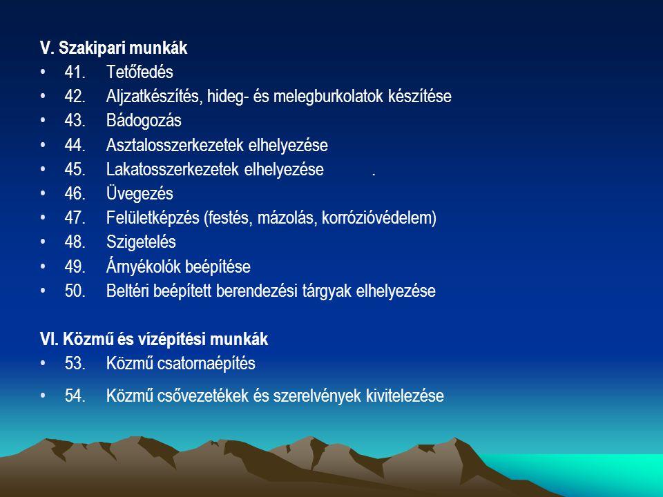 V. Szakipari munkák 41.Tetőfedés 42.Aljzatkészítés, hideg- és melegburkolatok készítése 43.Bádogozás 44.Asztalosszerkezetek elhelyezése 45.Lakatosszer