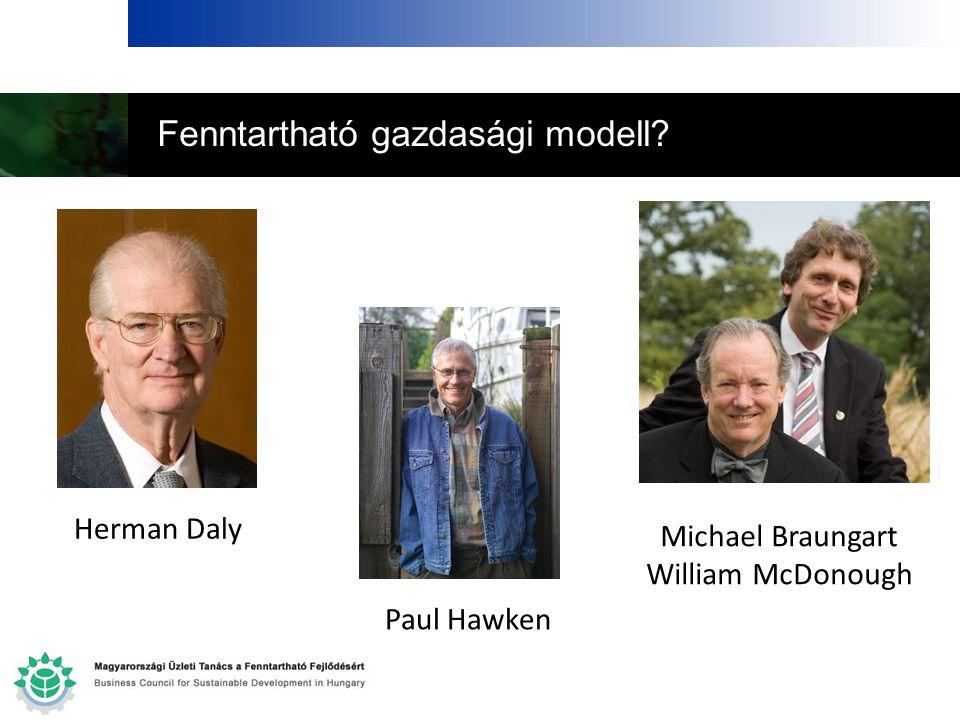 Fenntartható gazdasági modell? Herman Daly Paul Hawken Michael Braungart William McDonough