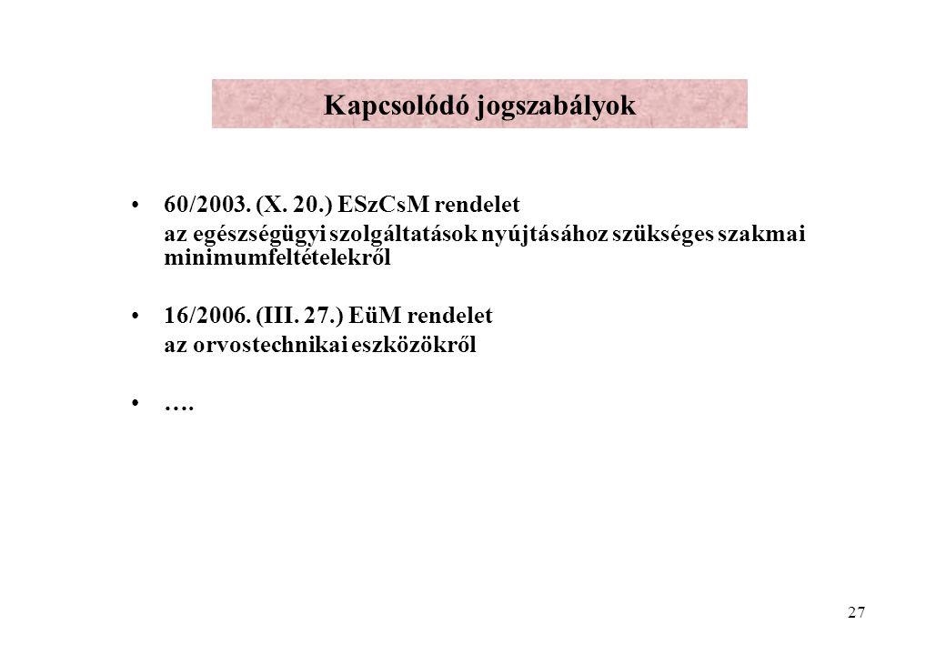 27 Kapcsolódó jogszabályok 60/2003.(X.
