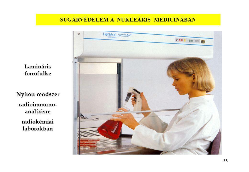 38 Lamináris forrófülke Nyitott rendszer radioimmuno- analízisre radiokémiai laborokban SUGÁRVÉDELEM A NUKLEÁRIS MEDICINÁBAN