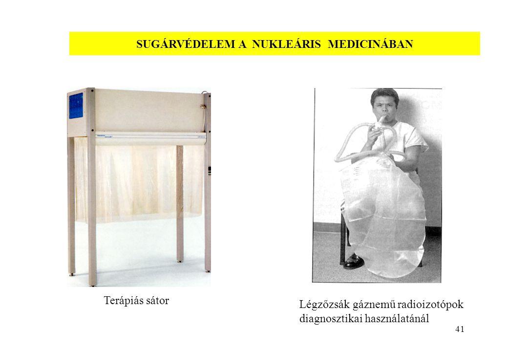 41 SUGÁRVÉDELEM A NUKLEÁRIS MEDICINÁBAN Terápiás sátor Légzőzsák gáznemű radioizotópok diagnosztikai használatánál