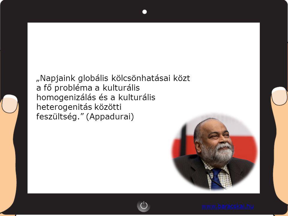 """www.baracskai.hu """"Napjaink globális kölcsönhatásai közt a fő probléma a kulturális homogenizálás és a kulturális heterogenitás közötti feszültség. (Appadurai)"""