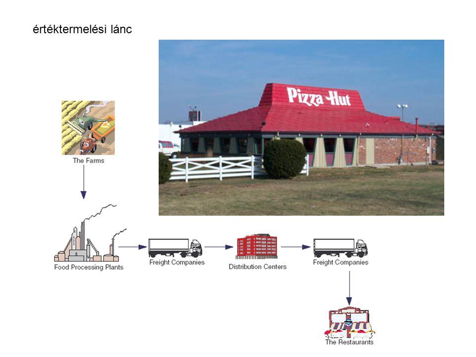 Porter generikus értéklánc modellje elsődleges folyamatok: beszerzési logisztika termelő műveletek tárolás terítés marketing értékesítés szervíz támogató folyamatok: infrastruktúra - eszközök - informatika - szervezet Humán erőforrás tervezés technológiai fejlesztés stratégiai fejlesztés Áramlási/funkció modell