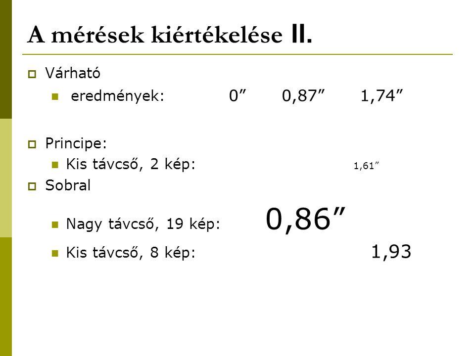 A mérések kiértékelése II.