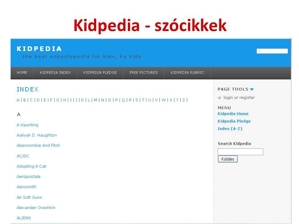 Kidpedia - szócikkek