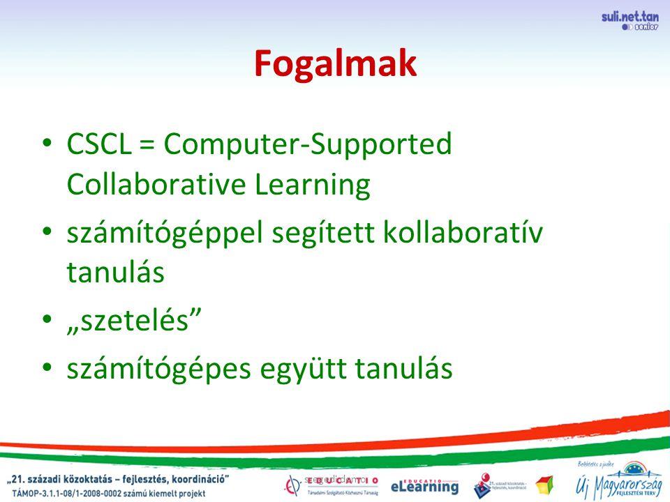 """szegedi demo Fogalmak CSCL = Computer-Supported Collaborative Learning számítógéppel segített kollaboratív tanulás """"szetelés számítógépes együtt tanulás"""