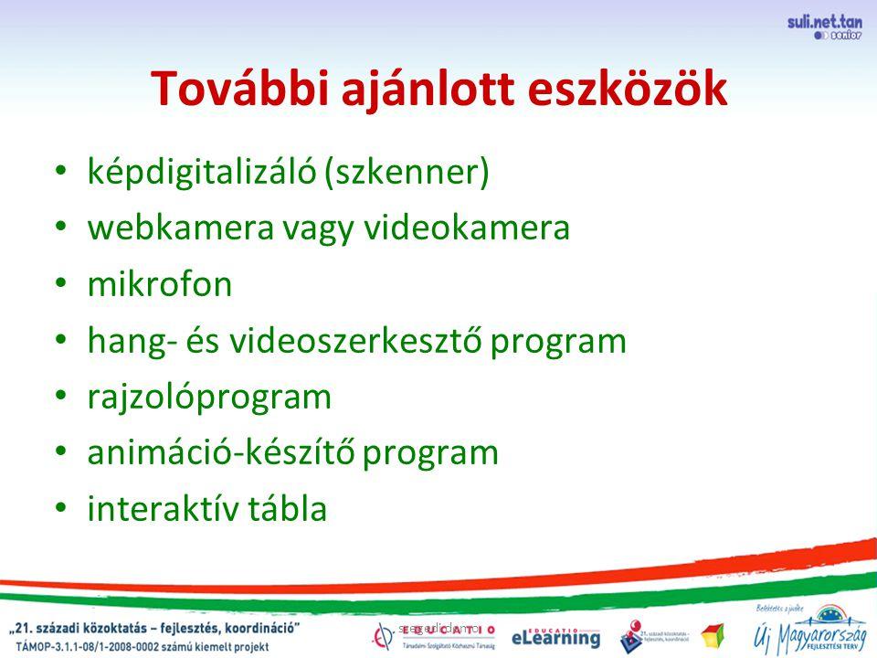 szegedi demo További ajánlott eszközök képdigitalizáló (szkenner) webkamera vagy videokamera mikrofon hang- és videoszerkesztő program rajzolóprogram animáció-készítő program interaktív tábla