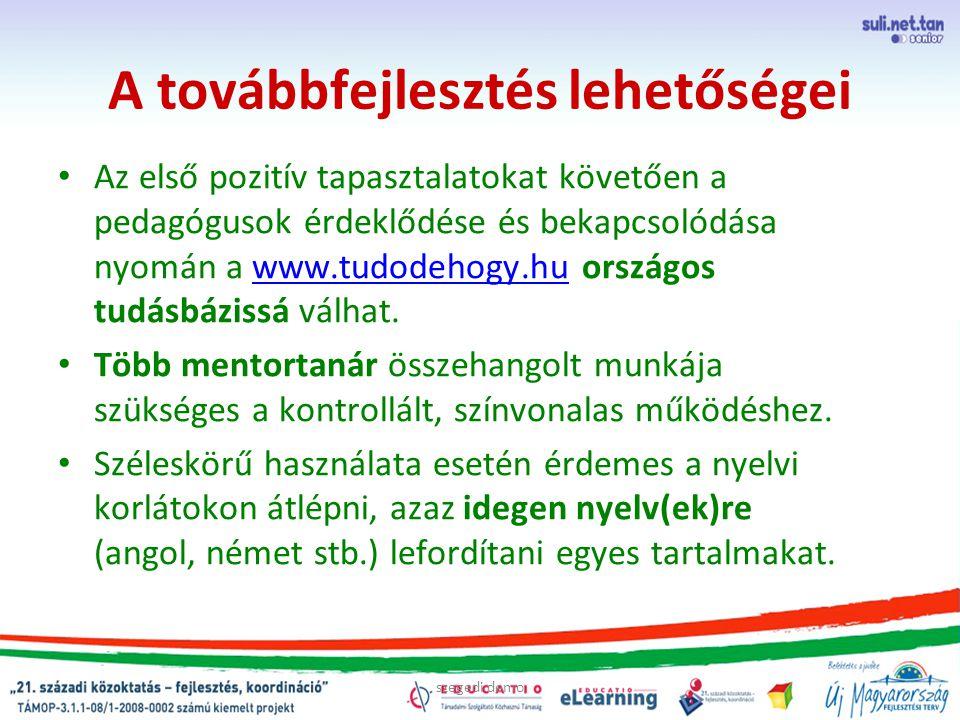 A továbbfejlesztés lehetőségei Az első pozitív tapasztalatokat követően a pedagógusok érdeklődése és bekapcsolódása nyomán a www.tudodehogy.hu országos tudásbázissá válhat.www.tudodehogy.hu Több mentortanár összehangolt munkája szükséges a kontrollált, színvonalas működéshez.