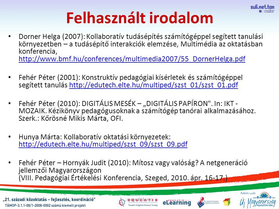 """szegedi demo Felhasznált irodalom Dorner Helga (2007): Kollaboratív tudásépítés számítógéppel segített tanulási környezetben – a tudásépítő interakciók elemzése, Multimédia az oktatásban konferencia, http://www.bmf.hu/conferences/multimedia2007/55_DornerHelga.pdf http://www.bmf.hu/conferences/multimedia2007/55_DornerHelga.pdf Fehér Péter (2001): Konstruktív pedagógiai kísérletek és számítógéppel segített tanulás http://edutech.elte.hu/multiped/szst_01/szst_01.pdfhttp://edutech.elte.hu/multiped/szst_01/szst_01.pdf Fehér Péter (2010): DIGITÁLIS MESÉK – """"DIGITÁLIS PAPÍRON ."""