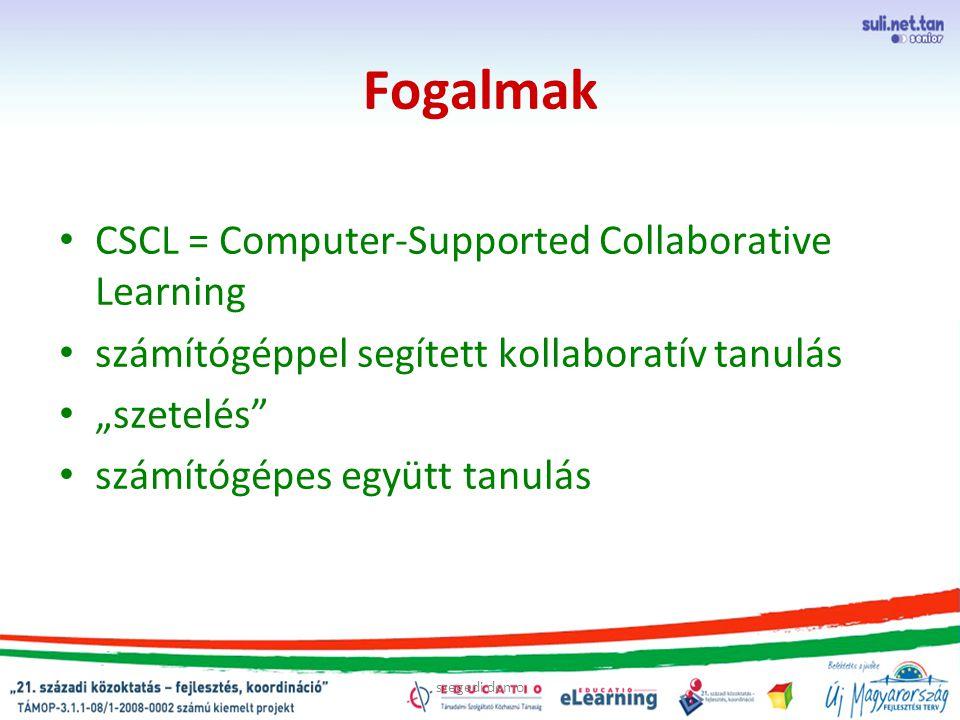 """szegedi demo Fogalmak CSCL = Computer-Supported Collaborative Learning számítógéppel segített kollaboratív tanulás """"szetelés"""" számítógépes együtt tanu"""