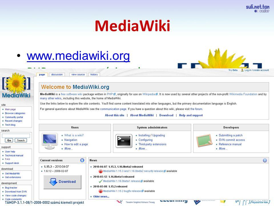 szegedi demo MediaWiki www.mediawiki.org PHP programozási nyelven íródott, szabad szoftverű wikicsomag a Wikipediához készült manapság már a Wikimedia