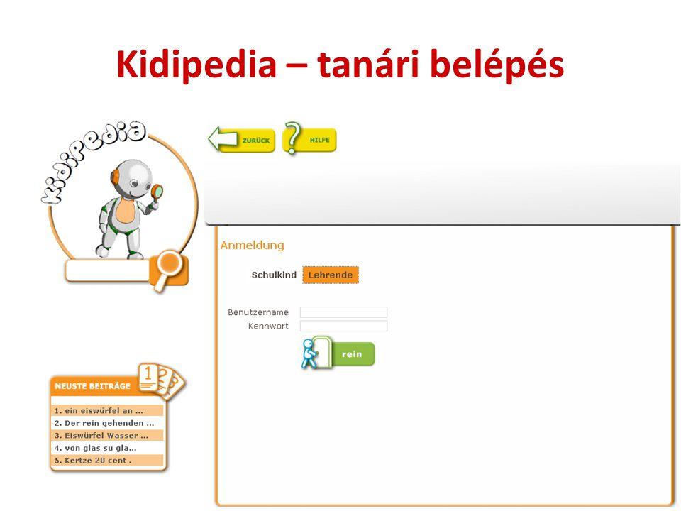Kidipedia – tanári belépés
