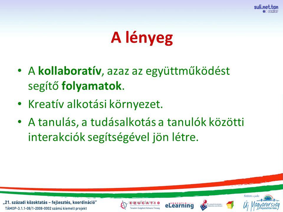 szegedi demo A lényeg A kollaboratív, azaz az együttműködést segítő folyamatok. Kreatív alkotási környezet. A tanulás, a tudásalkotás a tanulók között