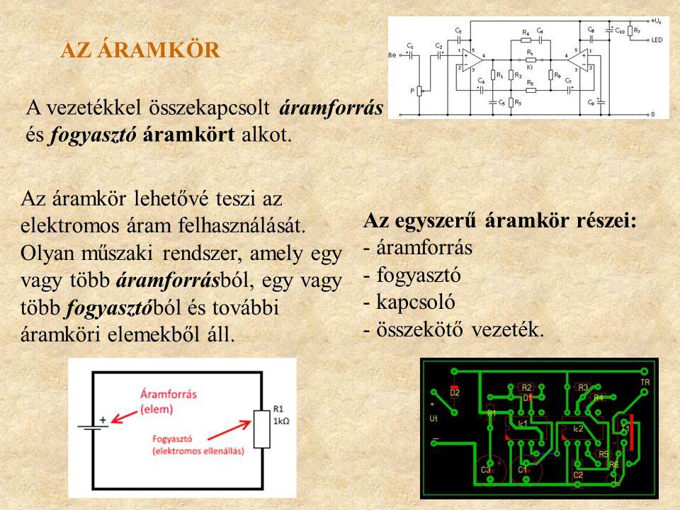 AZ ÁRAMKÖR Az áramkör lehetővé teszi az elektromos áram felhasználását. Olyan műszaki rendszer, amely egy vagy több áramforrásból, egy vagy több fogya