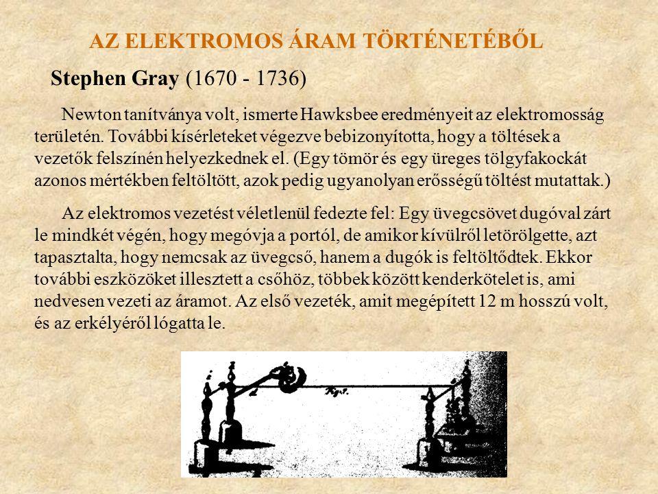 AZ ELEKTROMOS ÁRAM TÖRTÉNETÉBŐL Stephen Gray (1670 - 1736) Newton tanítványa volt, ismerte Hawksbee eredményeit az elektromosság területén. További kí