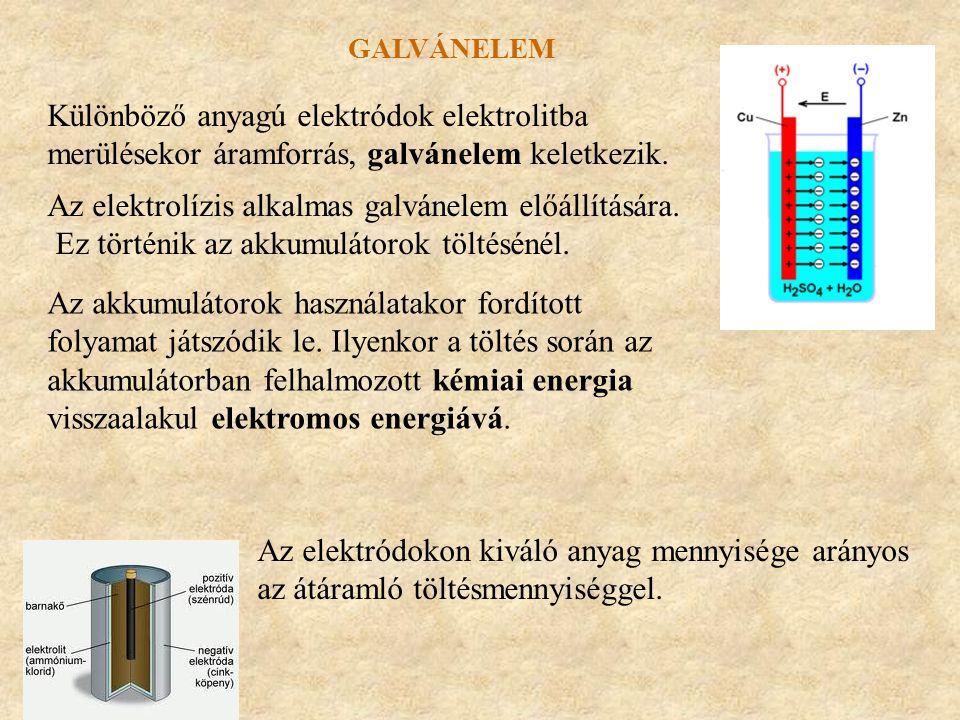 Különböző anyagú elektródok elektrolitba merülésekor áramforrás, galvánelem keletkezik. GALVÁNELEM Az elektrolízis alkalmas galvánelem előállítására.