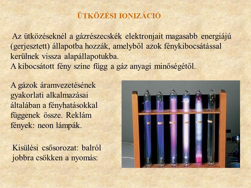 Az ütközéseknél a gázrészecskék elektronjait magasabb energiájú (gerjesztett) állapotba hozzák, amelyből azok fénykibocsátással kerülnek vissza alapál