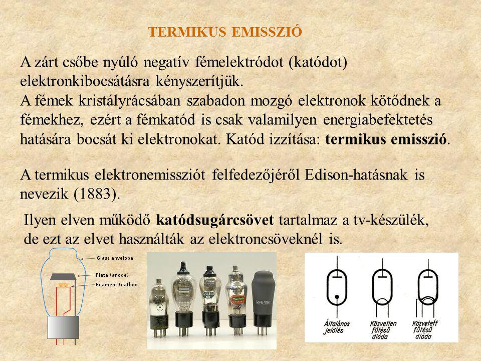 TERMIKUS EMISSZIÓ A zárt csőbe nyúló negatív fémelektródot (katódot) elektronkibocsátásra kényszerítjük. A fémek kristályrácsában szabadon mozgó elekt
