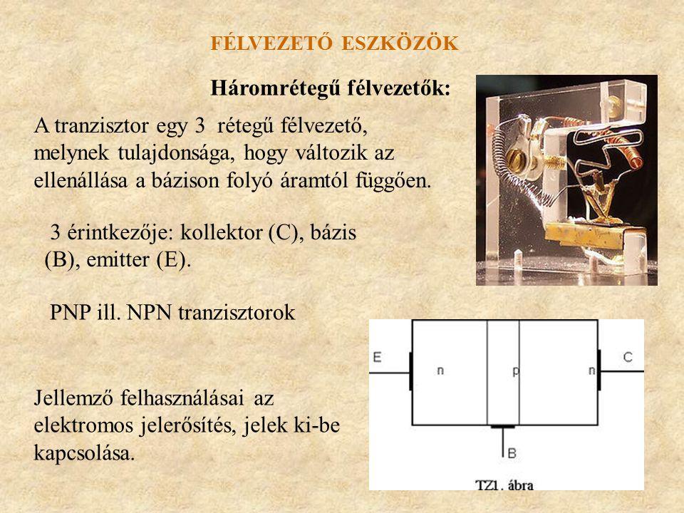 FÉLVEZETŐ ESZKÖZÖK Háromrétegű félvezetők: A tranzisztor egy 3 rétegű félvezető, melynek tulajdonsága, hogy változik az ellenállása a bázison folyó ár