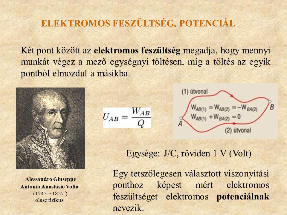 ELEKTROMOS FESZÜLTSÉG, POTENCIÁL Egy tetszőlegesen választott viszonyítási ponthoz képest mért elektromos feszültséget elektromos potenciálnak nevezik