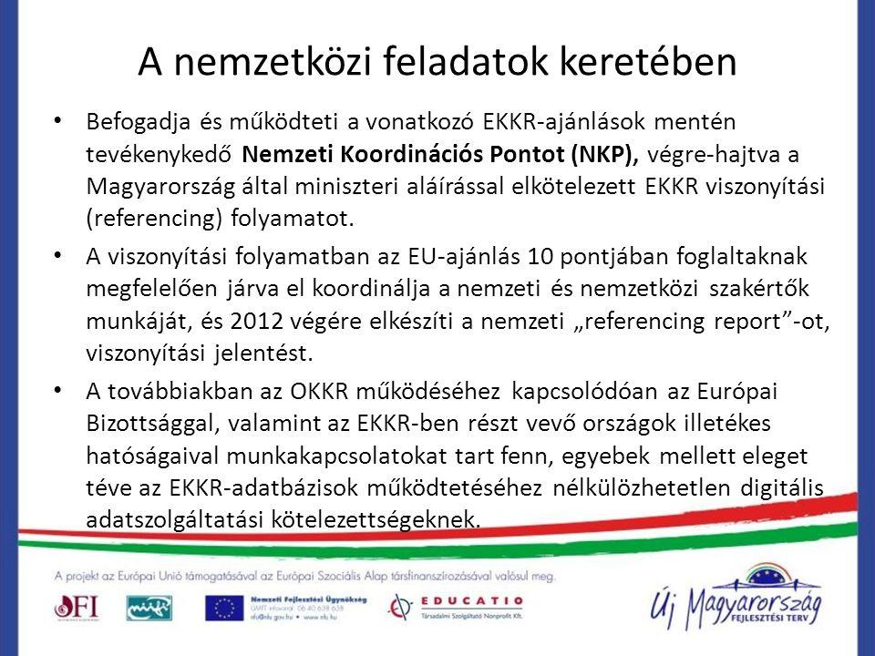 A nemzetközi feladatok keretében Befogadja és működteti a vonatkozó EKKR-ajánlások mentén tevékenykedő Nemzeti Koordinációs Pontot (NKP), végre-hajtva a Magyarország által miniszteri aláírással elkötelezett EKKR viszonyítási (referencing) folyamatot.