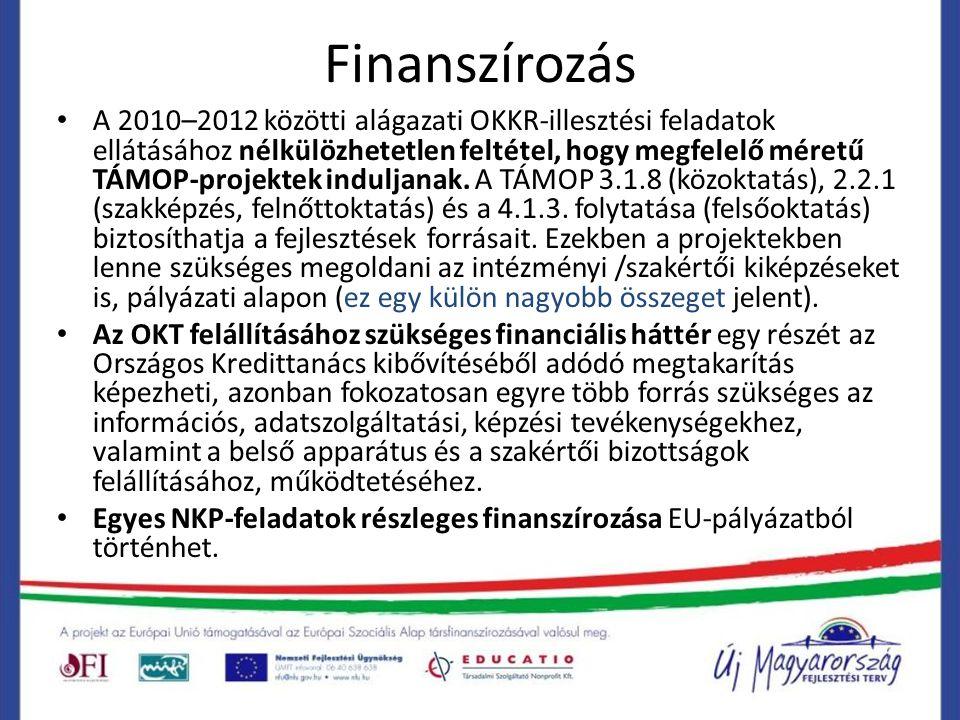 Finanszírozás A 2010–2012 közötti alágazati OKKR-illesztési feladatok ellátásához nélkülözhetetlen feltétel, hogy megfelelő méretű TÁMOP-projektek induljanak.