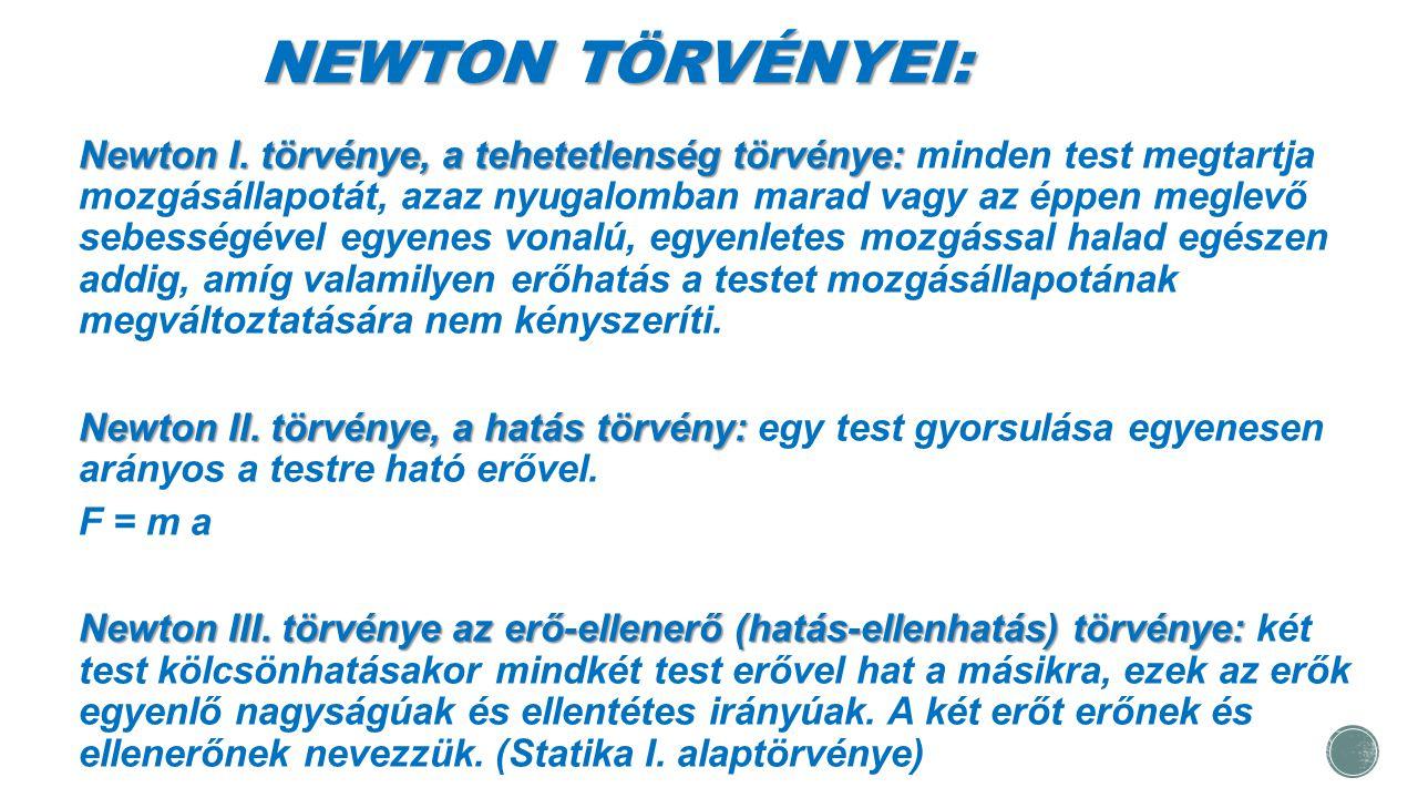 NEWTON TÖRVÉNYEI: Newton I. törvénye, a tehetetlenség törvénye: Newton I. törvénye, a tehetetlenség törvénye: minden test megtartja mozgásállapotát, a