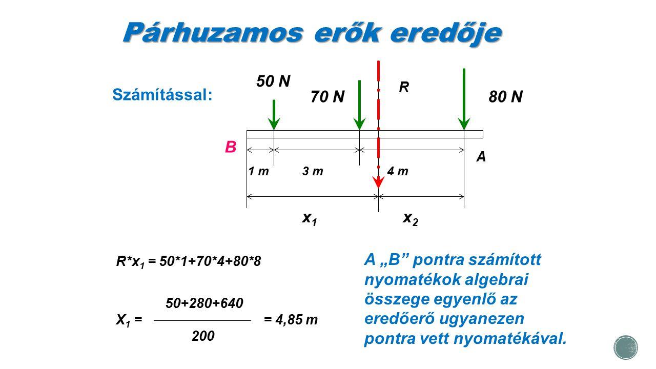 """Párhuzamos erők eredője Számítással: 50 N 70 N80 N 1 m3 m4 m B x1x1 x2x2 R R*x 1 = 50*1+70*4+80*8 50+280+640 X 1 == 4,85 m 200 A A """"B"""" pontra számítot"""